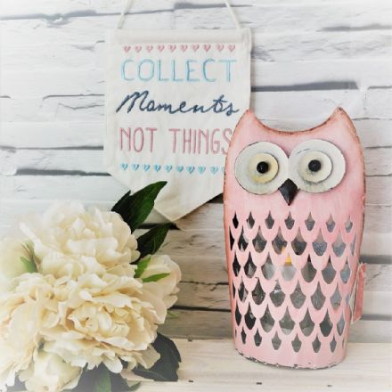 20% off Adorable Pink Metal Owl T-Light Holder